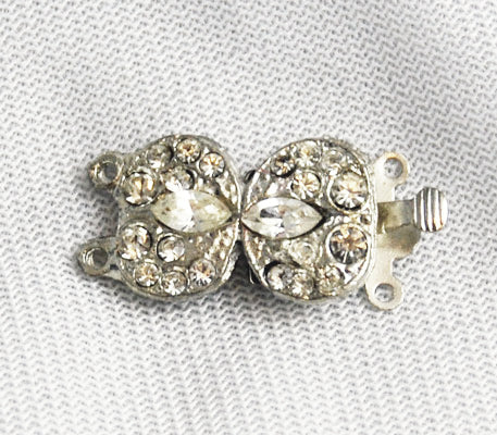 Rhinestone Bow Clasp Vintage Double Strand NOS