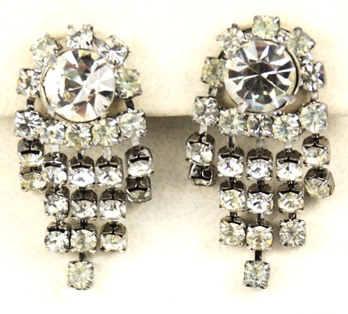 Rhinestone Clip On Chandelier Earrings 1950's