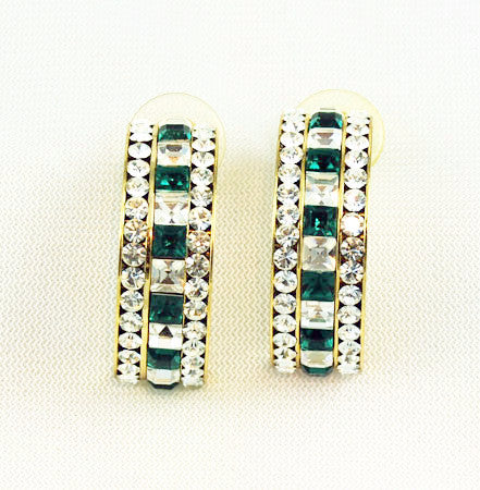 Elegant Emerald Rhinestone Hoop Earrings
