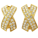 "Elegant Rhinestone Criss Cross ""X"" Earrings"