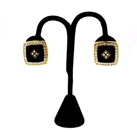 Black Enamel & Pave Rhinestone Clip on Earrings Vintage