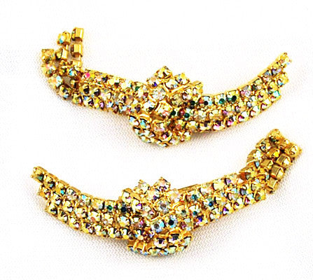 Gold Rhinestone Shoe Clips 1950's