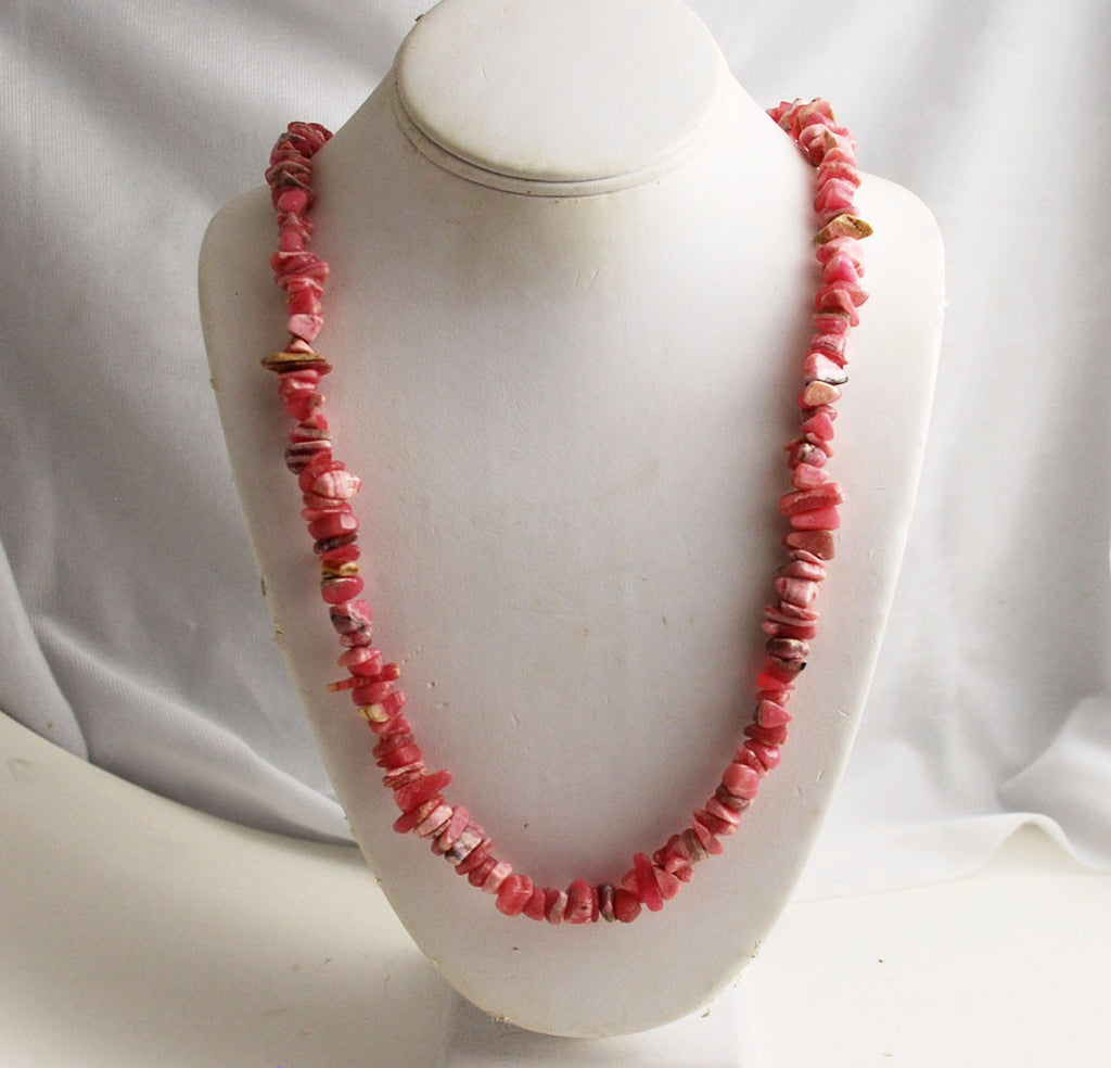 Rhodochrosite Gemstone Chip Bead Necklace