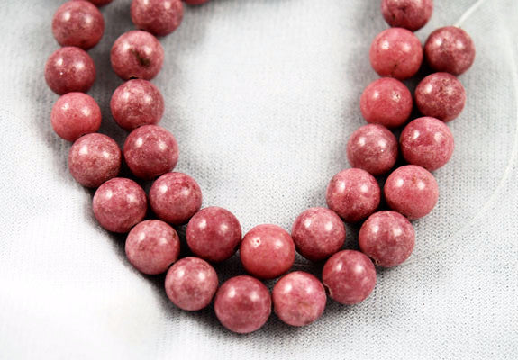 Rhodonite Gemstone Round Bead Strands