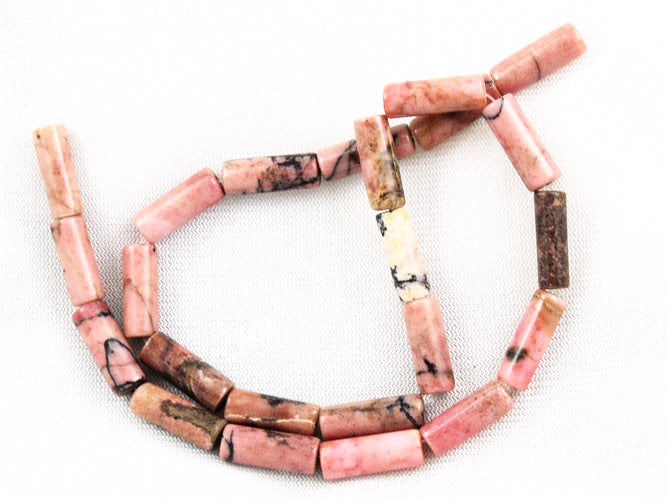 Rhodonite Gemstone Tube Bead Strands