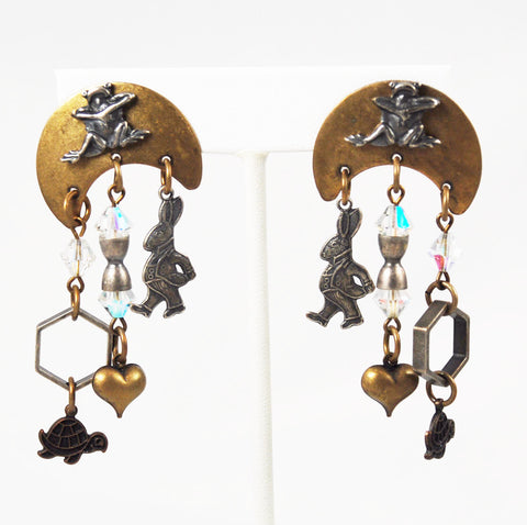 Susan L Richardson Mixed Metal Frog Earrings