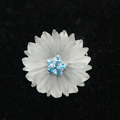 Rock Crystal & Aquamarine White Gold Floral Brooch & Pendant