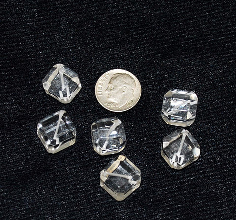 Genuine Rock Quartz Crystal Cube Beads