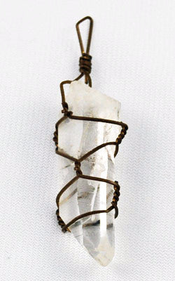 Rock Quartz Crystal Point Pendant Vintage