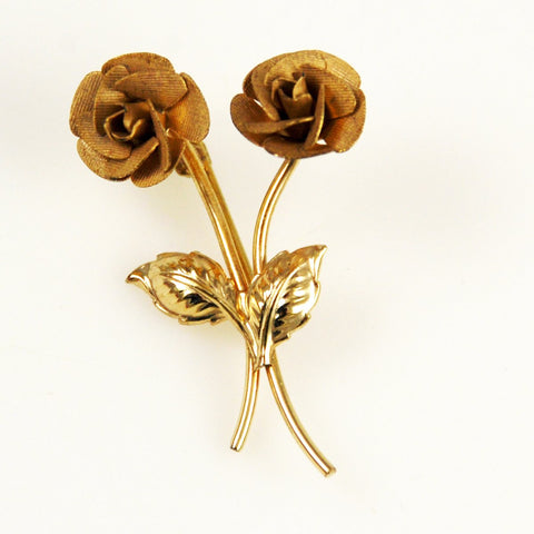 Gold Filled Rose Pin by  Rolyn Vintage