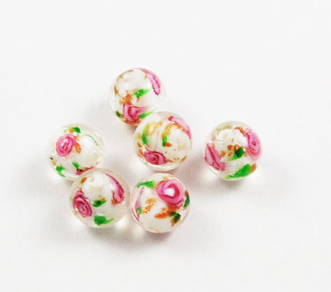 Lamp Work Rose Rounds 12mm
