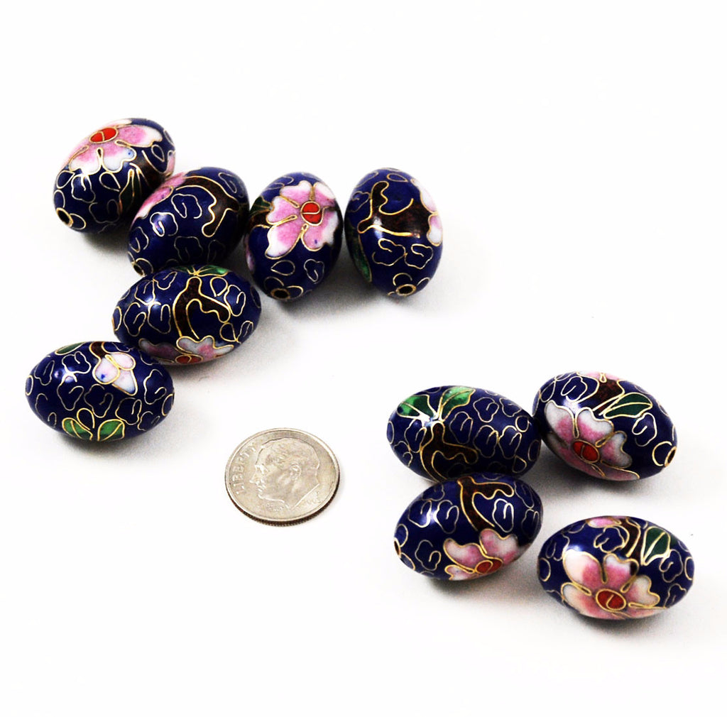 Large Cloisonne Cobalt Blue Oval Beads 23x15mm