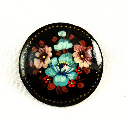 Russian Hand painted Brooch Vintage