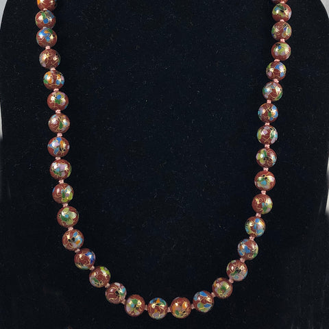 Rust Cloisonne Beaded Necklace Vintage
