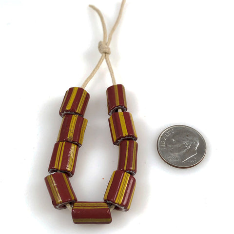 Rust Venetian Striped Chevron Trade Beads