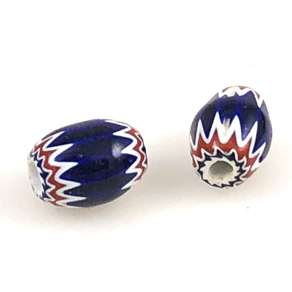 Red Blue & White 6 Layer Chevron Beads