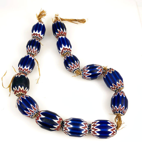 Large blue chevron trade beads