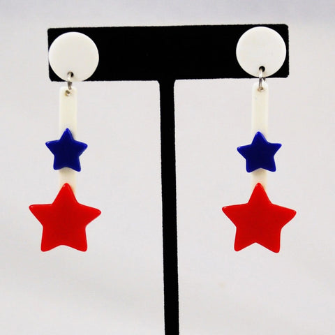 Patriotic Star Lucite Earrings 1950's