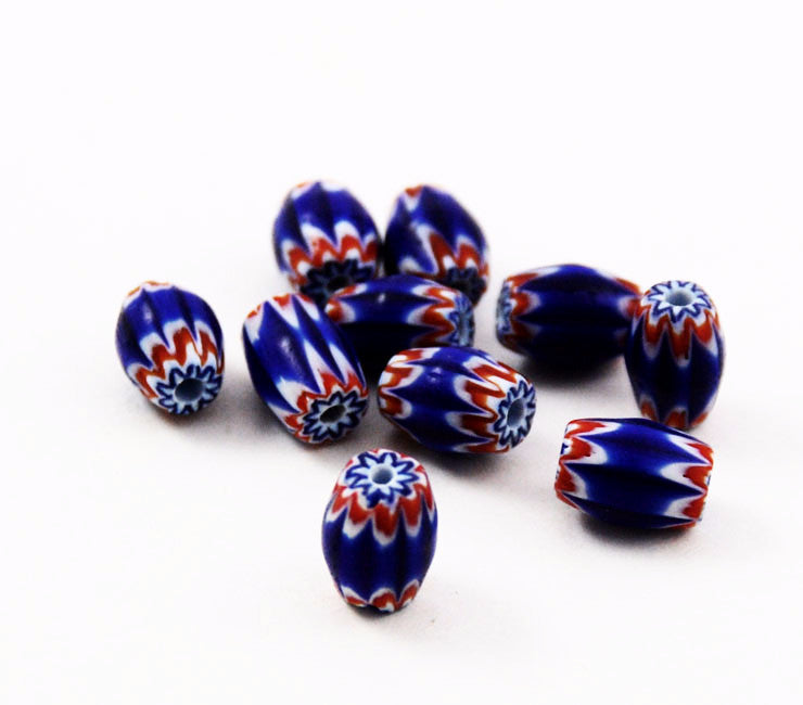 Red Navy Blue & White 6 Layer Chevron Beads
