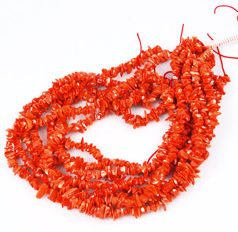 Italian Salmon Orange Coral Chip Strands