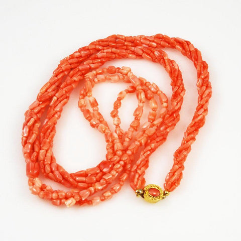Salmon Pink Coral Necklace & Bracelet Set