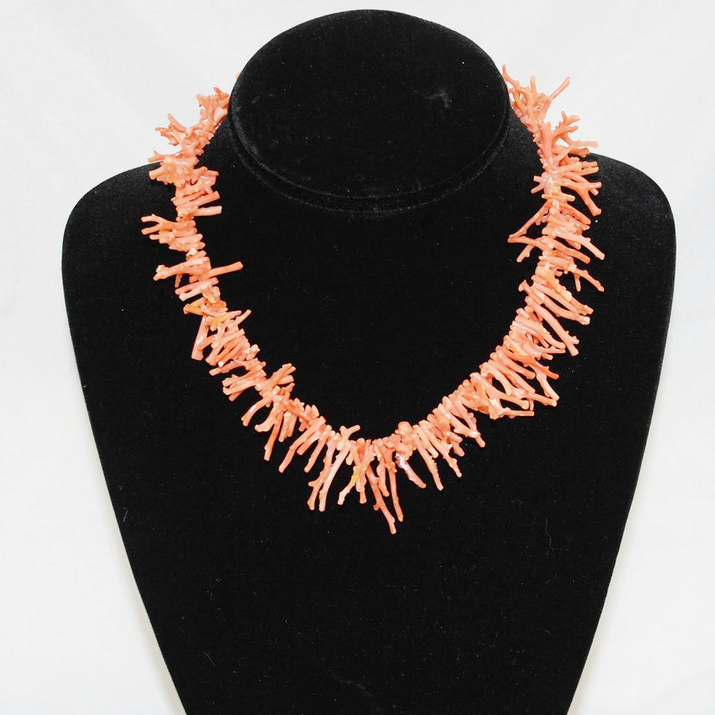 Salmon Pink Branch Coral Necklace