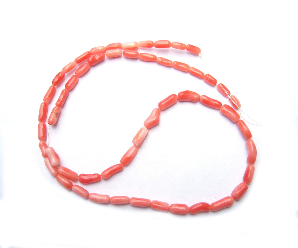 Salmon Coral Rice Bead Strands Natural Vintage