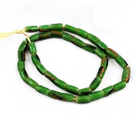 African Green Sandcast Beads