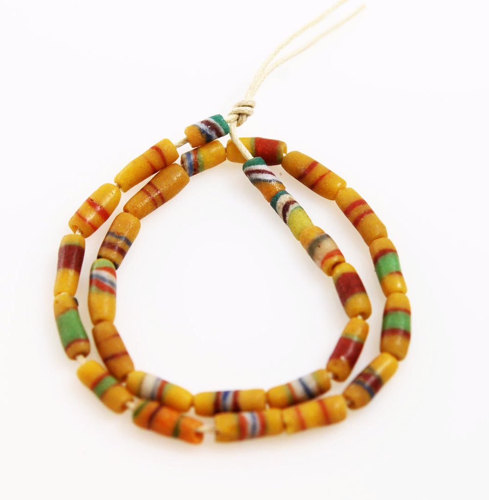 African Yellow & Green Sandcast Beads