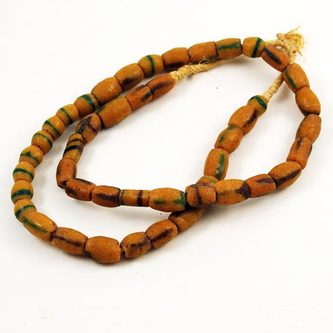 African Yellow Sandcast Bead Necklace