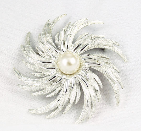 Sarah Coventry Silver Pearl Brooch