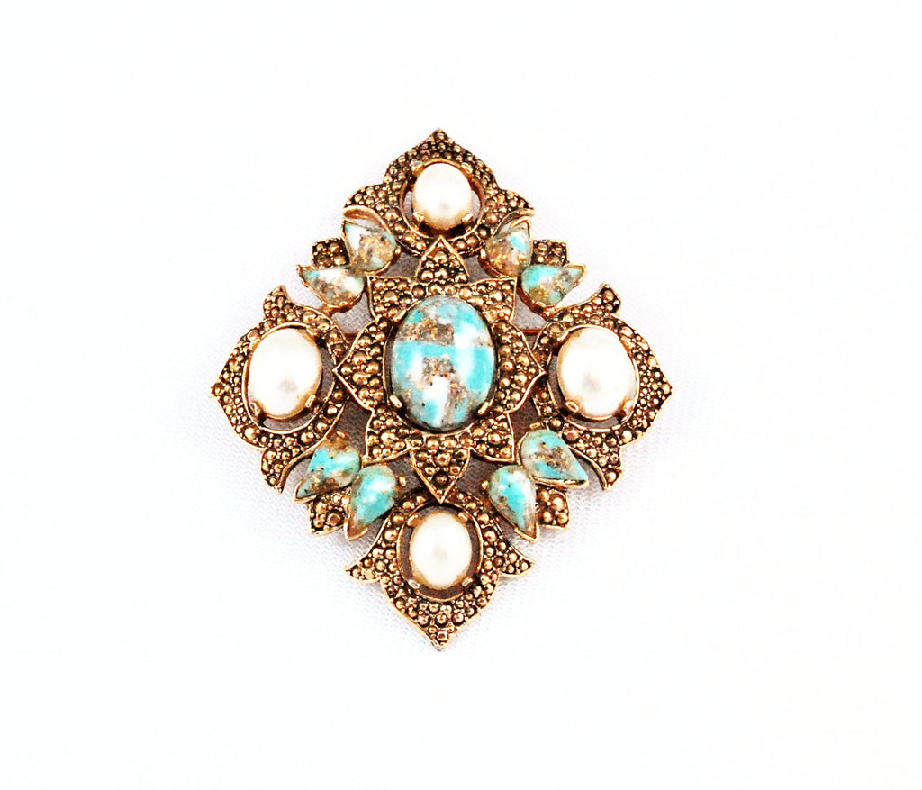 Sarah Coventry Turquoise Remembrance Brooch/Pendant