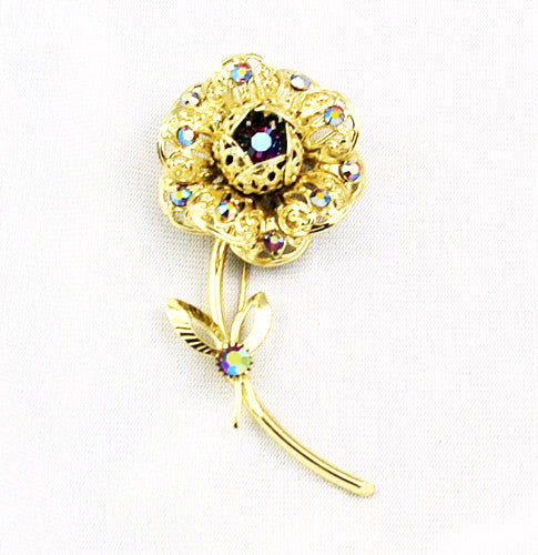 Sarah Coventry Floral Gold Filigree Brooch Signed Vintage