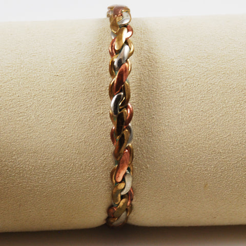 Sergio Lub Braided Copper, Silver & Brass Bracelet