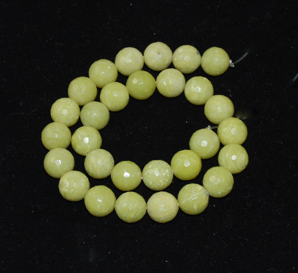 Olive Green Serpentine Faceted 14mm Round Bead Strands
