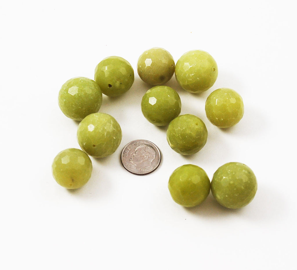 Olive Green Serpentine Faceted Round Beads 18mm & 20mm