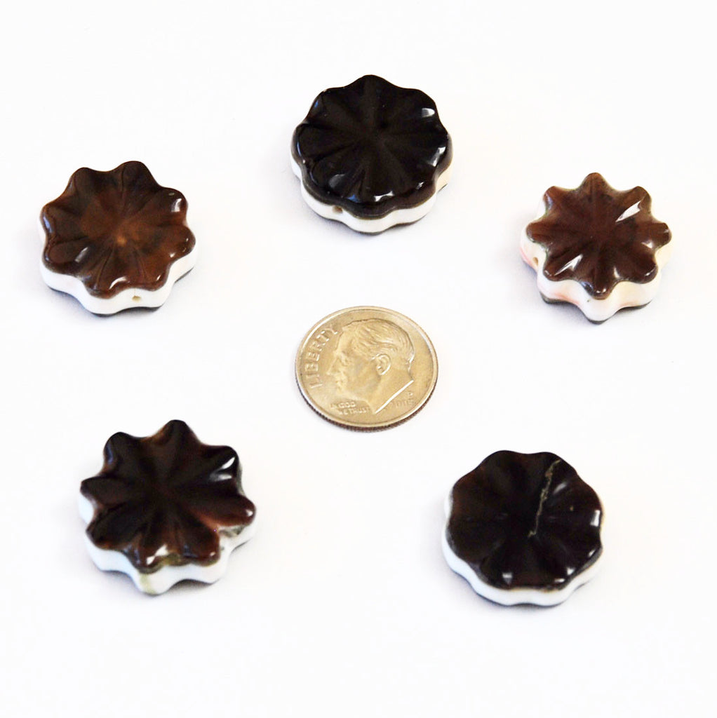 Brown Shell Star Beads 1970's