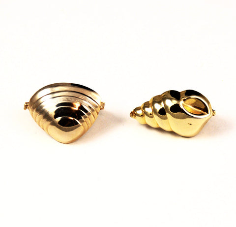 Gold Plated Shell Twister Clasps