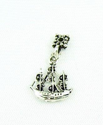 Sterling Silver Sailing Ship Charm Vintage
