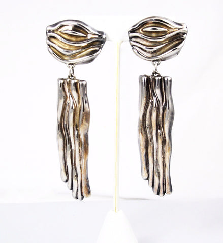Silver Shoulder Duster Clip On Earrings Electroformed