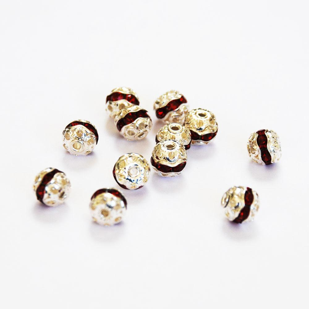 Silver Plated & Siam Red Rhinestone 8mm Beads