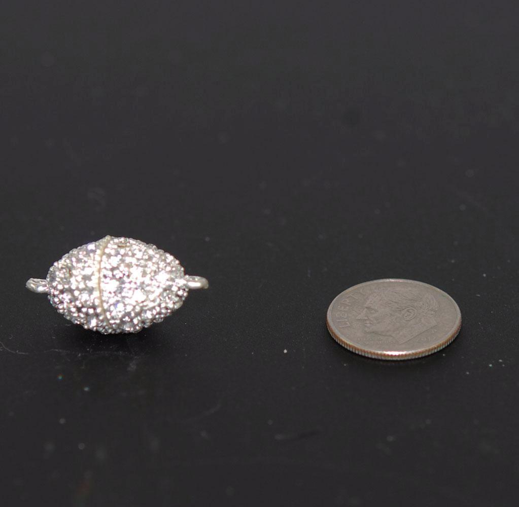 Silver Magnetic Rhinestone Clasp Oval
