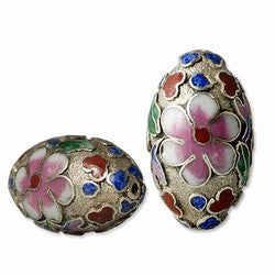 Large Cloisonne Silver Oval Beads Vintage Chinese 18 x 12mm