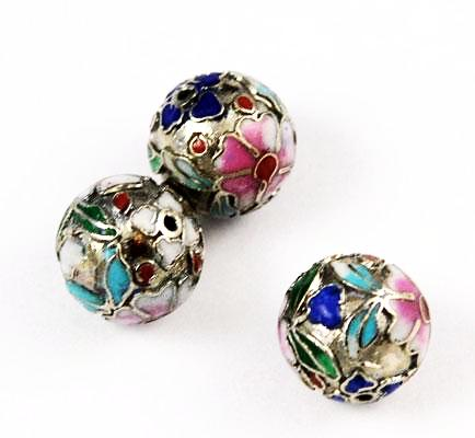 Silver Cloisonne Round Beads 14mm