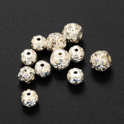 Silver Plated & Clear Rhinestone Beads