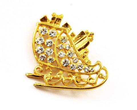 Gold Plated Rhinestone Sleigh Pin Holiday