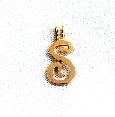 "Victorian 14K Gold Snake ""S"" Initial Pendant Charm"