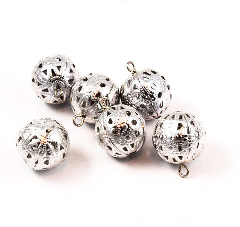 Large Silver Plated Filigree Beads with Loop