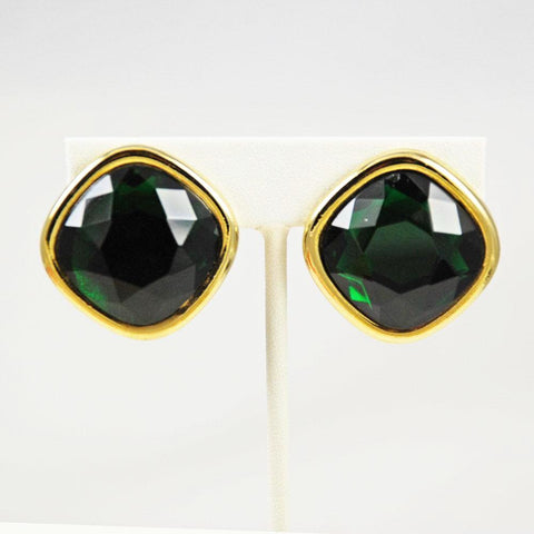 Sphinx Emerald Rhinestone Clip On Earrings
