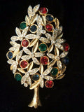 Sphinx Rhinestone & Enamel Christmas Tree Pin